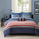 N2 4 Piece Grey Blue Red White Rugby Stripes Comforter Full Queen Set, Horizontal Striped Bedding College Sports Themed Colors Modern Stylish Teen Dorm Navy, Polyester