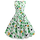 Alangbudu Women's Vintage Classy Clover Print Floral Sleeveless Party Picnic Party Cocktail Swing Dress
