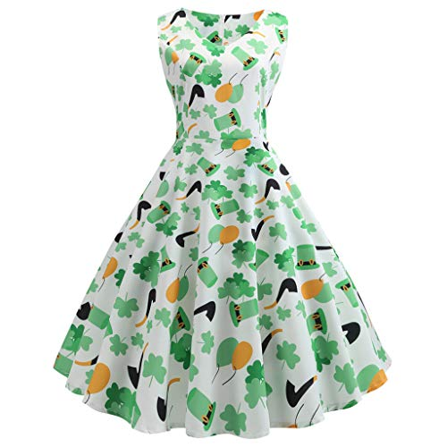 TOTOD Dress for Women, Fashion Women's Vintage Clover Print Minidress St. Patrick's Day Outfits Party Costume