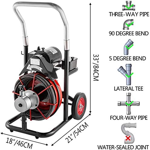 50 Ft x 1//2 Inch 100mm Drain Cleaner Machine fit 1 Inch Pipes Drain Cleaning Machine Portable Electric Drain Auger with Cutters Glove Drain Auger Cleaner Sewer Snake 25mm to 4 Inch