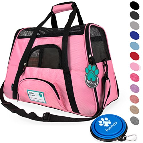 (PetAmi Premium Airline Approved Soft-Sided Pet Travel Carrier | Ventilated, Comfortable Design with Safety Features | Ideal for Small to Medium Sized Cats, Dogs, and Pets (Small, Pink))