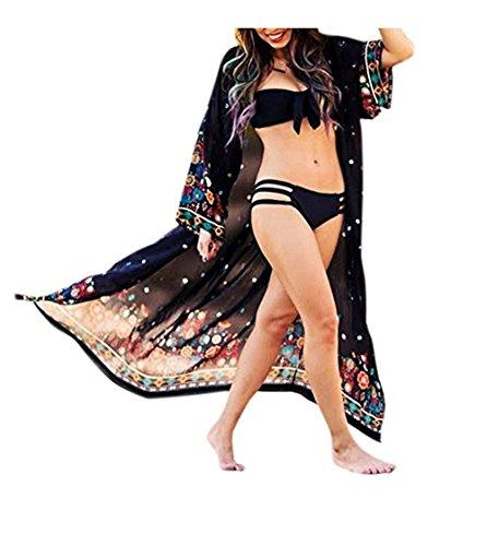 女性のカーディガンブラウス、プリントされた女性ビーチビキニカバー夏のルーズビーチウェアホームガーデンの水着