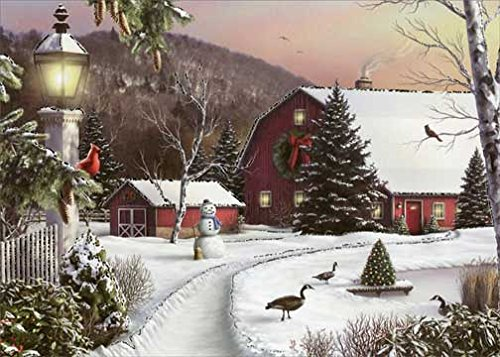 Barn in Winter - Box of 18 Designer Greetings Christmas Cards