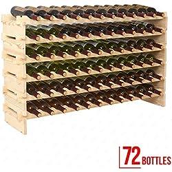 mecor Wine Rack Wood,Modular Stackable Storage 72 Bottle Display Capacity Shelves, Wobble-Free