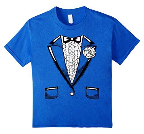 Kids Tuxedo T-Shirt | Boys Girls Halloween Prom Black Bowtie 6 Royal (Child Tuxedo Shirt)