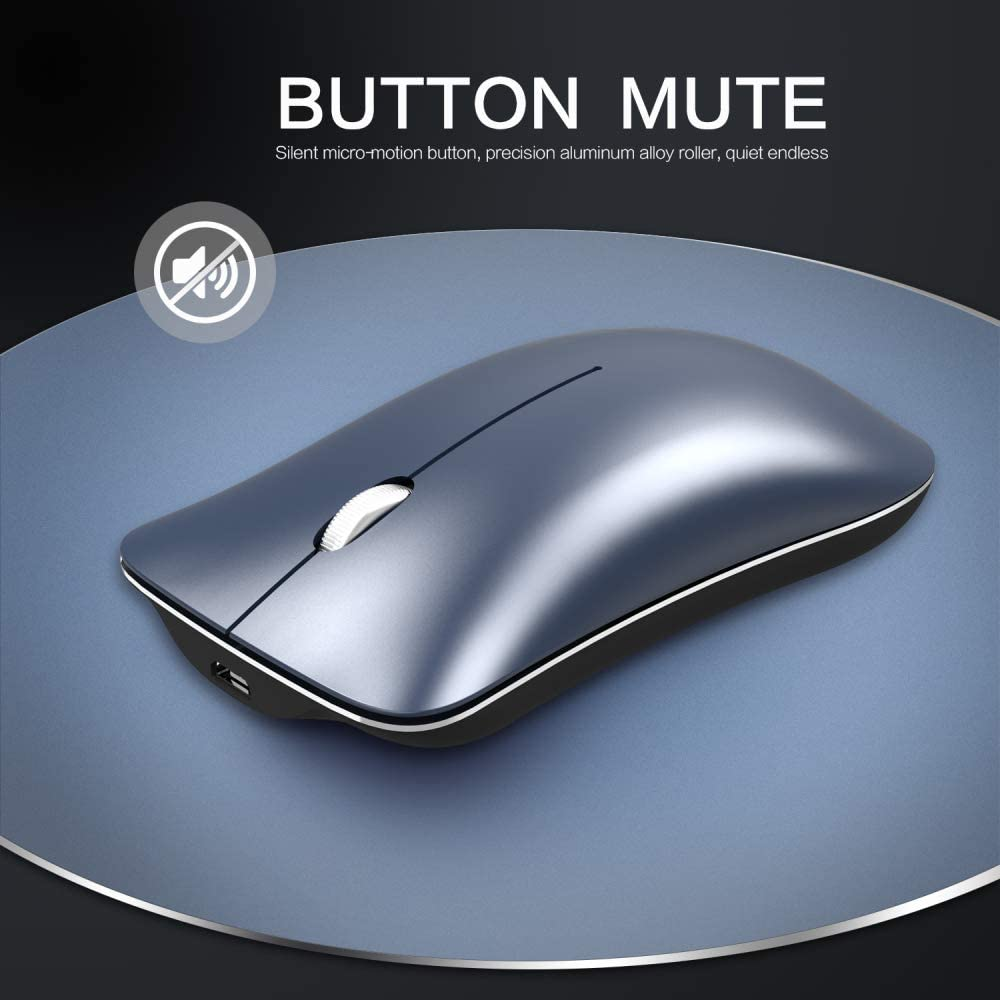 WANGOFUN Bluetooth and 2.4Ghz Rechargeable Wireless Mouse Slim Mute Silent Click Noiseless Optical Mouse with USB Receiver for Notebook//PC//Computer//MacBook,Silver