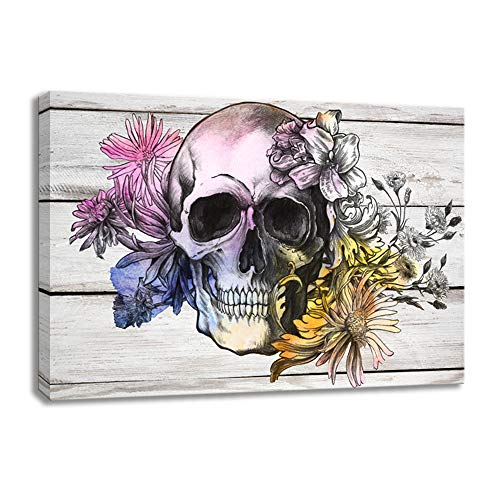 (KALAWA Artistic Skull/Skeleton with Flowers in Black and White on Wood Background Rustic Home Decoration Paintings on Canvas Framed Prints Ready to Hang (16''W x 24''H) )