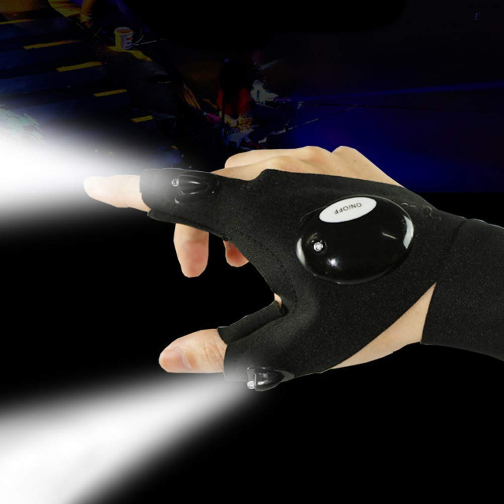 Half Finger LED Flashlight Gloves Night Fishing Gloves Luminous Multipurpose Glove for Repairing and Working in Darkness Places, Outdoor Sports, Fishing, Camping, Hiking, Running, One Pair by TKSTAR (Image #3)