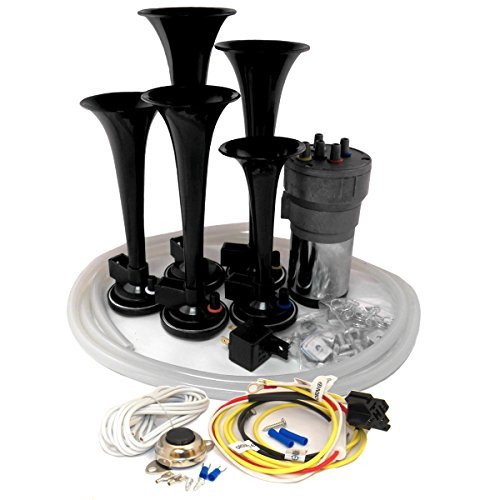 Dixie Air Horn Black - Dixieland Premium Full 12 Note Version with Installation Wire Kit and (Dukes Of Hazzard Horns)