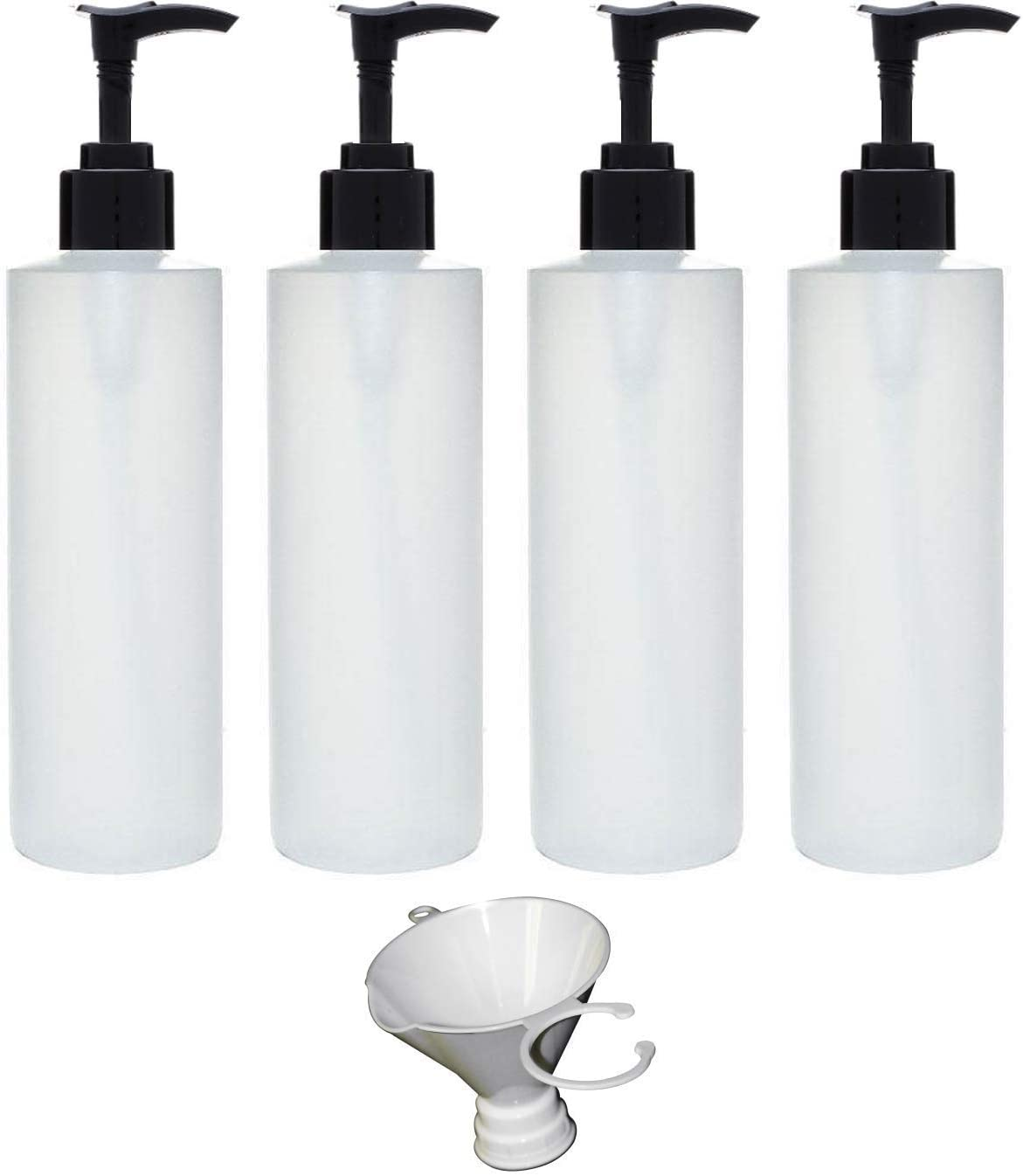 Earth s Essentials Four Pack of Refillable 8 Oz. HDPE Plastic Pump Bottles with Patented Screw On Funnel-Great for Dispensing Lotions, Shampoos and Massage Oils.