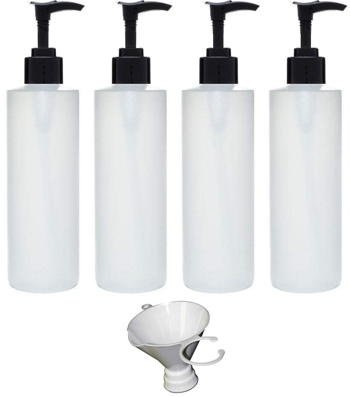 Earth's Essentials Four Pack of Refillable 8 Oz. HDPE Plastic Pump Bottles with Patented Screw On Funnel-Great for Dispensing Lotions, Shampoos and Massage Oils. Earth' s Essentials Dozen8oz