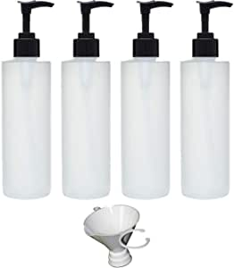 Earth's Essentials Four Pack of Refillable 8 Oz. HDPE Plastic Pump Bottles with Patented Screw On Funnel-Great for Dispensing Lotions, Shampoos and Massage Oils.