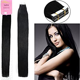 habis Remy Human Hair Extensions Tape In Straight Hair 20pcs#01 16""
