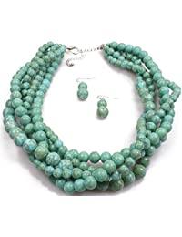 Shineland Multistrand Layered Hand-Woven Crack Turquoise Stone Beaded Bib Necklace Statement