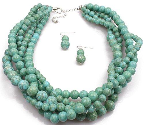 - Shineland Multistrand Layered Hand-Woven Crack Turquoise Stone Beaded Bib Necklace Statement