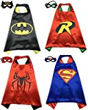 4 Pack Superhero or Princess CAPE & MASK SETS Kids Childrens Halloween Costumes (Batman Robin Spiderman Superman)
