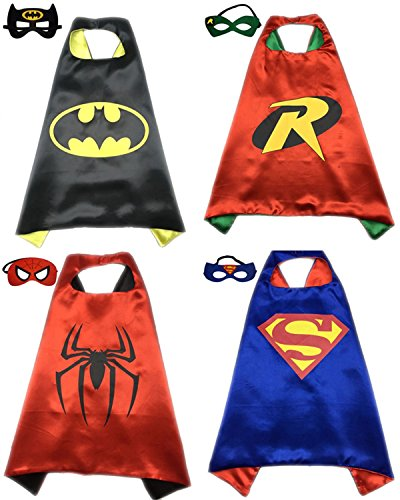 [4 Pack Superhero or Princess CAPE & MASK SETS Kids Childrens Halloween Costumes (Batman Robin Spiderman] (Kids Batman And Robin Costumes)