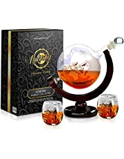 NutriChef NCGDS02 Glass Whiskey Decanter - 850ml Globe Whiskey Carafe Alcohol Decanter Set with Glasses , Liquor Lead Free Decanter w/ Stopper & Base, for Brandy Wine Cognac Rum Gin Scotch Bourbon
