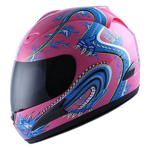 Face Full Dragon (WOW Motorcycle Street Bike Full Face Helmet Blue Dragon Pink)