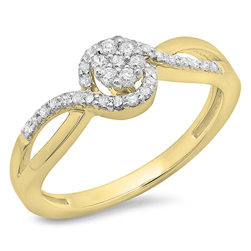 Dazzlingrock Collection 0.30 Carat (ctw) 10K Round Diamond Twisted Swirl Cluster Engagement Ring 1/3 CT, Yellow Gold, Size 7
