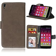 Case For Alcatel One Touch Idol 3 (5.5 inch) ,Matting PU Leather Protection 3 Card Slots Wallet Flip Case Cover(Brown)