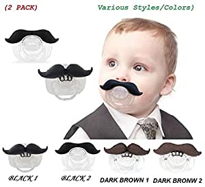 (2 PACK) The Best Mustache Pacifier For Baby With High Quality (Various Styles / Colors) – A Funny Toys And Good Night's Sleep With Brown & Black Cute Pacifier For Newborn, Toddler, Boys And Girls (From 0 – 3 months, 3 – 6 months, 6 – 12 months, 12+) With Special Beautiful Design – Ideal Gift For Your Lovely Baby (Black 1 - Black 2)