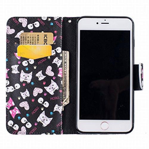LEMORRY Apple iPhone 7 Plus Custodia Pelle Cuoio Flip Portafoglio Borsa Sottile Fit Bumper Protettivo Magnetico Chiusura Standing Card Slot Morbido Silicone TPU Case Cover Custodia per iPhone 7 Plus,