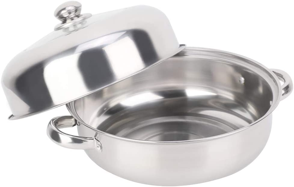 Stainless Steel Steamer Pot,28CM Basket Metal Steaming Cookware for Crab Seafood Food Vegetable