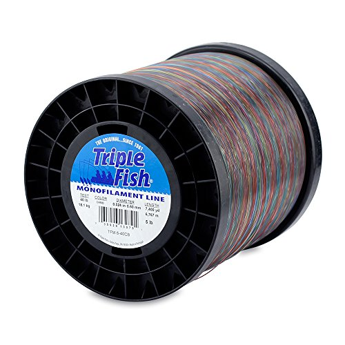 Triple Fish Mono Line, 125 lb (56.7 kg) test, .047 in (1.20 mm) diam, Camo, 5 lb (2.26 kg) Spool, 1850 yd (1692 m) 1850 Fish