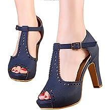 getmorebeauty Women's Vintage Suede Ankle T Straps Dress Block Heeled Sandals Pumps