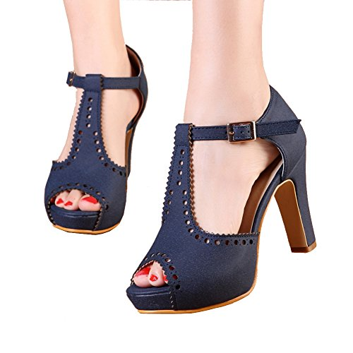 getmorebeauty Women's Navy Vintage Suede Ankle T Straps Dress Block Heeled Sandals Pumps 8 B(M) US