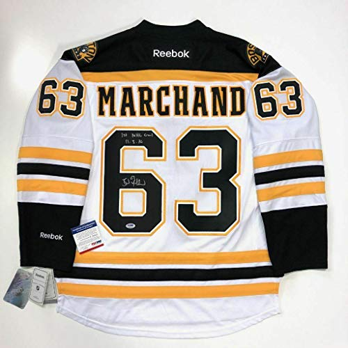 (Brad Marchand Autographed Jersey - 1st GOAL Inscribed RBK PREMIER COA - PSA/DNA Certified)