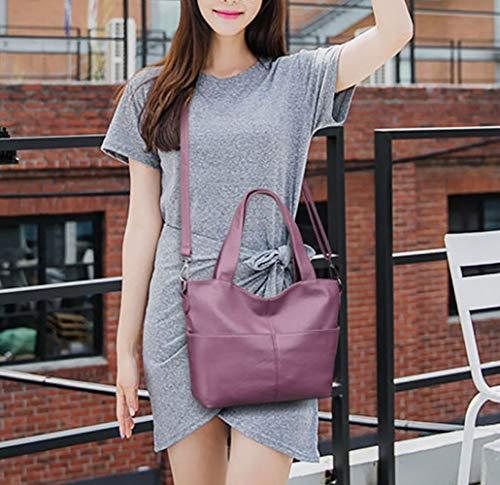 de Shoppers Carteras de y Mujer mano Bolsos clutches Púrpura y bolsos hombro bandolera DEERWORD fq1zg