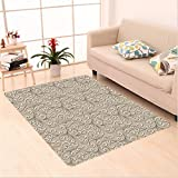 Nalahome Custom carpet al Swirls Damask Pattern Classic Victorian Style In Retro Background Antique Design French Beige area rugs for Living Dining Room Bedroom Hallway Office Carpet (6' X 9')