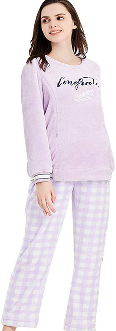 Pijamas Mujeres Embarazadas Coral Fleece Ropa de Dormir ...