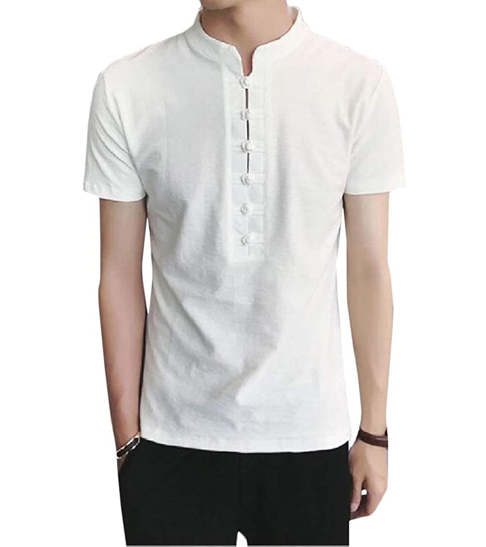 Fieer Mens Plus Size Linen Short-Sleeve Chinese Style Tshirt Tops Tees
