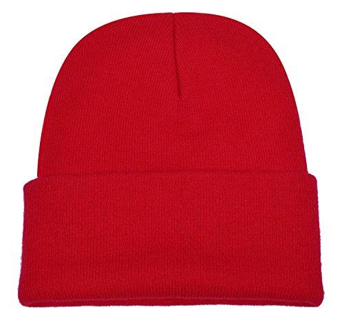 PZLE Winter Hats Red Beanie Skull Caps Knit Hat Ski Cap Cuff Beanie Hats Red