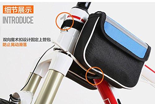 Pandaren Rucksäcke vorderen oberen Rohrrahmen Pannier Doppelbeutelbeutel für Fahrradfahrradfahrrad mit 5in Handytasche (rot)