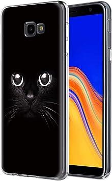 ZhuoFan Funda Samsung Galaxy J4 Plus, Cárcasa Silicona 3D Transparente con Dibujos Diseño Suave Gel TPU [Antigolpes] de Protector Fundas para Movil Samsung J4 Plus 2018 (Gato Negro): Amazon.es: Electrónica