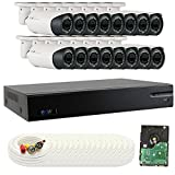 GW Security GW16CH16C9082CVM 16 Channel HD-CVI DVR (16) 2.8-12mm Motorized Zoom 2MP 1080P Outdoor Sony Cmos Video Security Camera System