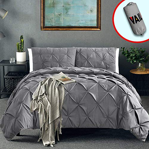 Vailge 3 Piece Pinch Pleated Duvet Cover with Zipper Closure, 100% 120gsm Microfiber Pintuck Duvet Cover, Luxurious & Hypoallergenic Pintuck Decorative(Grey,Queen) (Duvet Grey Patterned Covers)