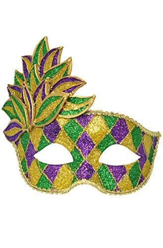 [Mememall Fashion Mardi Gras Leaf Adult Mask] (Dog Costumes For Mardi Gras)