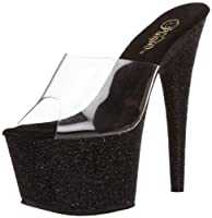 Pleaser Women's Adore-701 Sandal,Clear/Black Glitter,9 M US