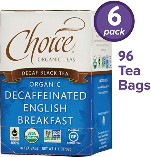 Choice Organic Teas Black Tea, Decaffeinated English Breakfast, 16 Count, Pack of 6