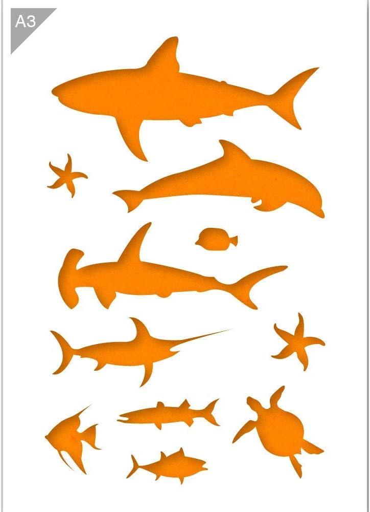 Shark Fish Crab FABRIC Decals Reusable Non-toxic NO PVCs A148