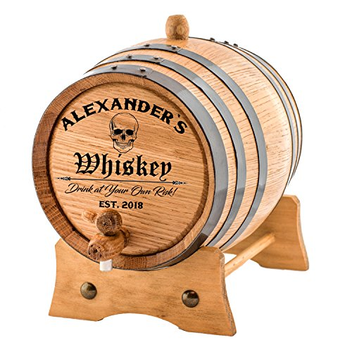 Personalized - Custom American White Oak Aging Barrel | Age your own Whiskey, Wine, Rum, Tequila, Beer, Bourbon & More. - Danger Design (2 Liters)