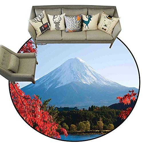 Easy Clean Rug Landscape Mountain Fiji with Snowcapped Summit and Lake Maple Trees in Autumn Paprika Blue and Green Shoe Scraper Door Mat Living Room Rug 4.6