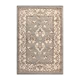 Superior Elegant Kingfield Collection Area Rug, 8mm Pile Height with Jute Backing, Classic Bordered Rug Design, Anti-Static, Water-Repellent Rugs - Slate, 2' x 3' Rug