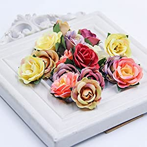 Fake flower heads Artificial Rose Tea silk Flower Heads Small Multicolor Scrapbooking Flower For party festival Decor Home Wedding Party & Wedding Car Decoration 30pcs 29
