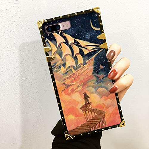 DISNEY COLLECTION Case for iPhone 7 Plus, iPhone 8 Plus, iPhone 7 Plus/8 Plus Luxury Square Edges Phone Cover Shockproof Protection PC + TPU Shell - I'm Still Here Carrie Liao, Treasure Planet